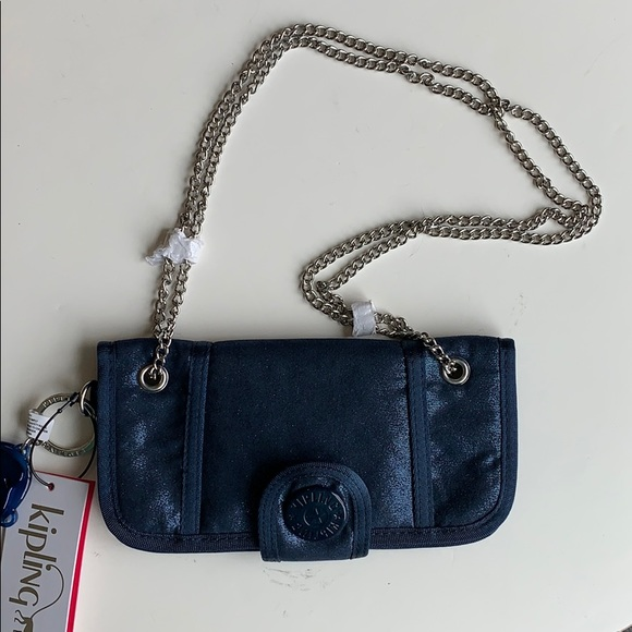 Kipling wallet on a chain metallic blue
